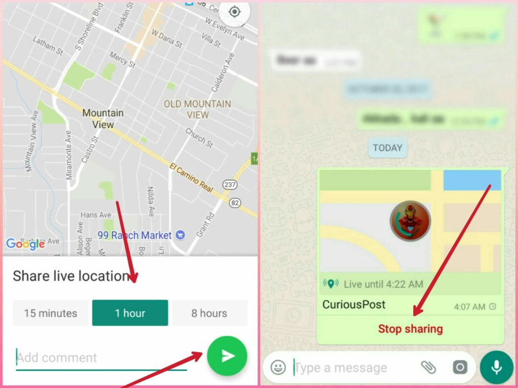 Using WhatsApp Live location